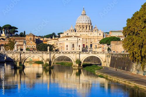 Recess Fitting Rome San Pietro Basilica and Ponte St Angelo. Rome, Italy