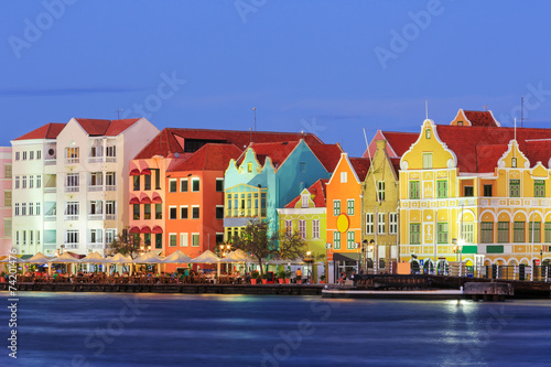 Photo Stands Caribbean Willemstad at twilight. Curacao, Netherlands Antilles