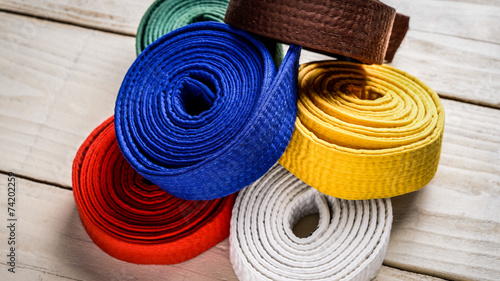 Staande foto Vechtsport karate belts