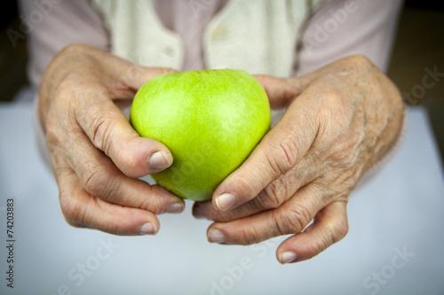 Rheumatoid arthritis hands and fruits Canvas Print