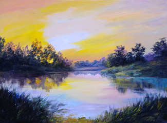 Obraz Oil Painting landscape - beautiful lake at colorful sunset, made