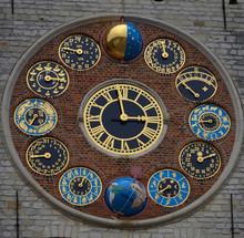 Detail Of Astrological Clock In Belgian Lier.