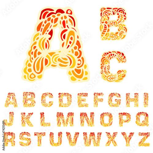 In de dag Vuur Fire set font alphabet text on a red background concept. Vector