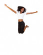Young African American Teen Jumping With Smile