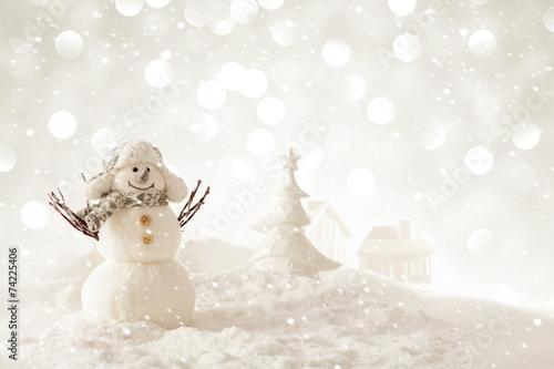 Fotografie, Obraz  Vánoční sněhulák