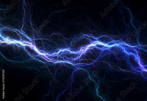 Fotografía  Blue electric lighting, abstract electrical background