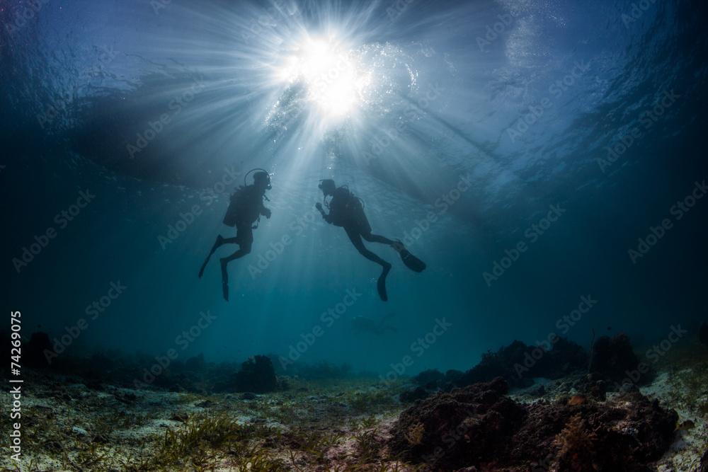 Fototapeta scuba divers start a dive