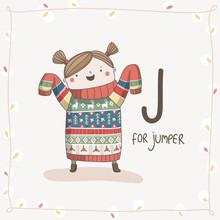 Cute Vector Alphabet Christmas. Letter J - Jumper
