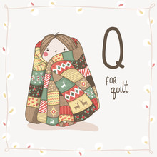 Cute Vector Alphabet Christmas. Letter Q - Quilt