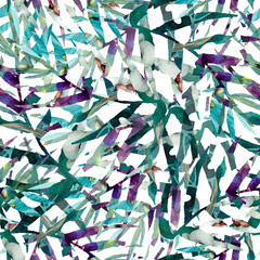 Fototapetaleaves abstract pattern background wallpaper watercolor