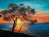 oil painting on canvas - tree near the lake at sunset - 74294823