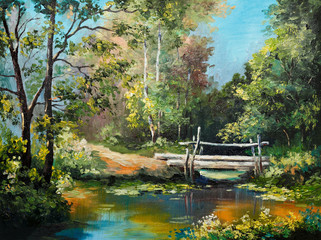 Fototapeta Wiejski oil painting on canvas - bridge in the forest