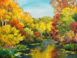 Fototapetaoil painting on canvas - colorfull autumn forest