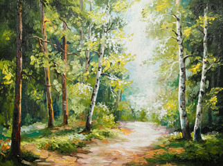 Fototapetaoil painting on canvas - summer forest