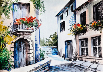 Obraz na Szkle Uliczki Oil Painting, watercolor - flowers along the street