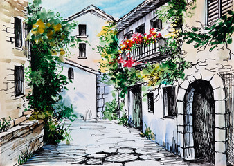 Panel Szklany Uliczki Oil Painting, watercolor - flowers along the street