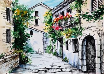 Fototapeta Uliczki Oil Painting, watercolor - flowers along the street