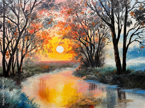 Obraz w ramie oil painting on canvas - the river