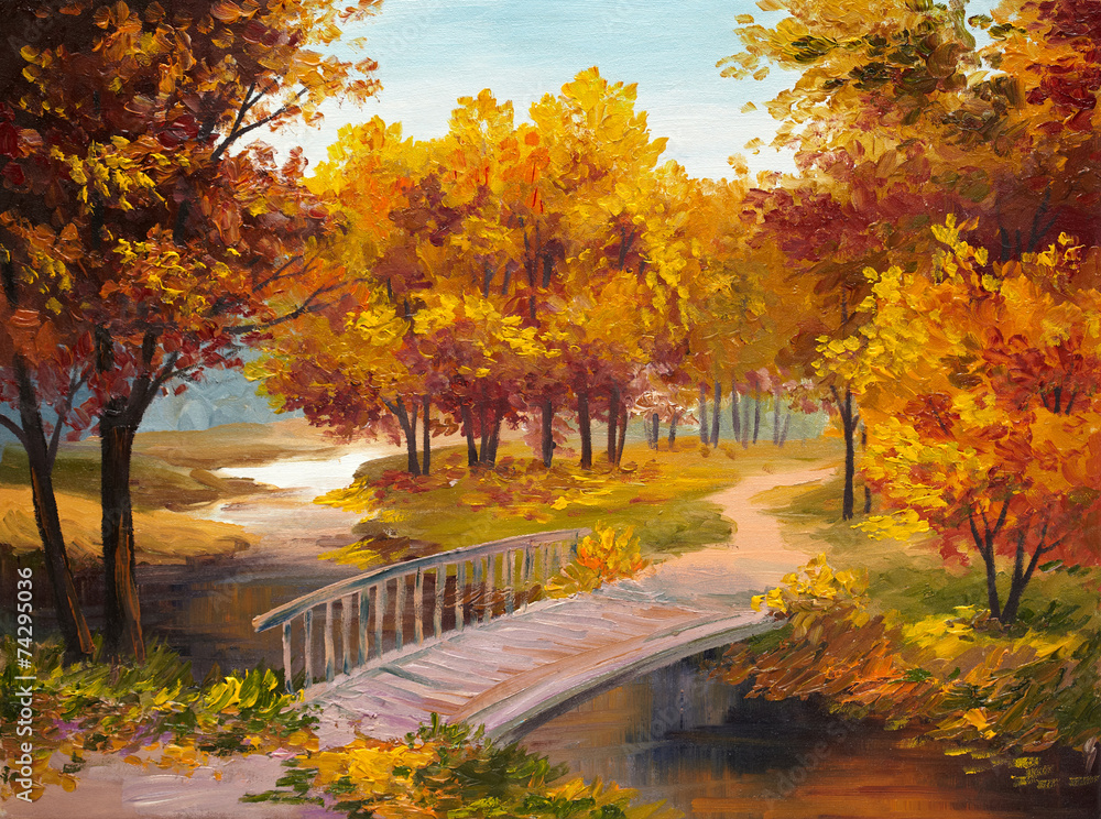 Oil Painting - autumn forest with a river and bridge over the ri