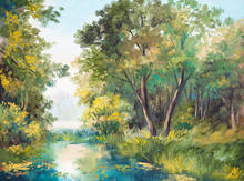 Oil Painting Of Forest Landscape - Pond In The Forest