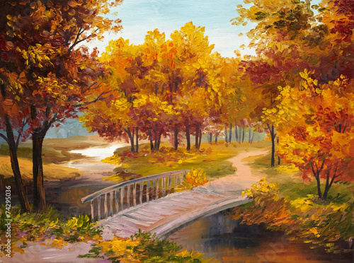 Oil Painting - autumn forest with a river and bridge over the ri - 74295036