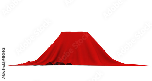 Fotografía  Object of rectangular shape covered with red cloth, on white