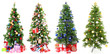 Christmas trees with gifts collage
