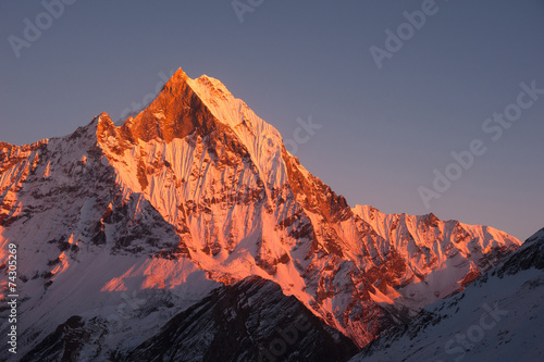Wall Murals Nepal Mount Machhapuchchhre at sunset
