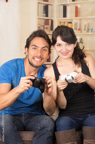 Young Cute Couple Playing Video Games Buy This Stock Photo And Explore Similar Images At Adobe Stock Adobe Stock
