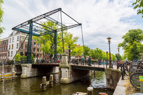 Photo  Canal and bridge in Amsterdam
