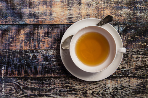 Poster Thee Cup of tea on wooden background