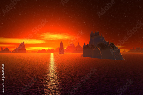 Garden Poster Brown 3D rendered fantasy alien planet. Sea and sunset