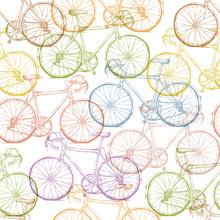 Vintage Bicycle Hand Drawn Seamless Pattern