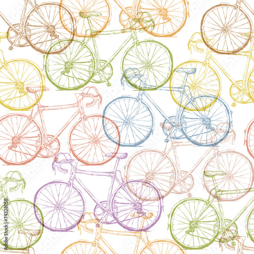 Cotton fabric Vintage Bicycle Hand Drawn Seamless Pattern