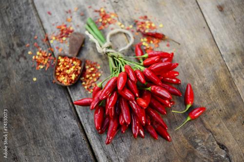Printed kitchen splashbacks Spices Chili Holz