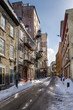 Narrow Street Covered in Snow in Quebec City