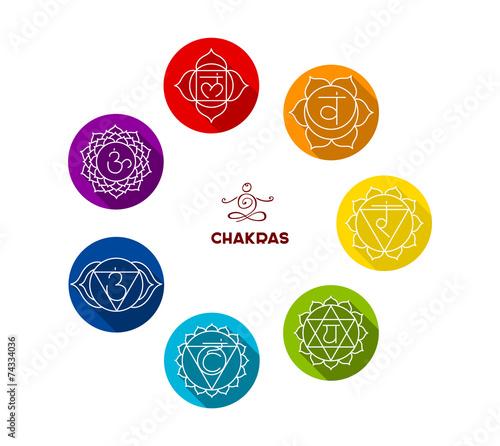 Fotografie, Obraz  Chakra color flat set