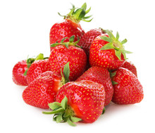Bunch Of Strawberries Isolated On The White Background
