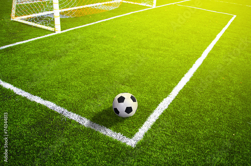 Photo  Soccer grass field with marking and ball, Sport