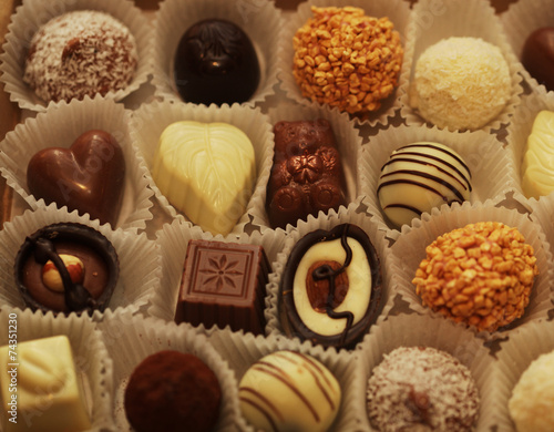 Poster Dessert Chocolate candies in a box