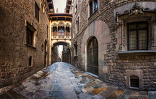 Barri Gothic Quarter And Bridge Of Sighs In Barcelona, Catalonia