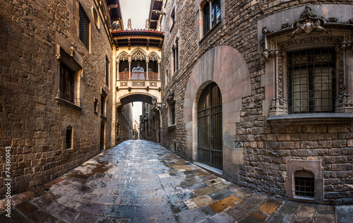 Barri Gothic Quarter and Bridge of Sighs in Barcelona, Catalonia #74360043
