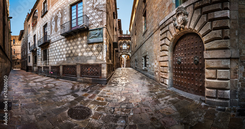 Barri Gothic Quarter and Bridge of Sighs in Barcelona, Catalonia #74360050