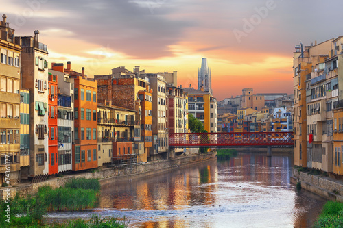 Foto op Canvas Barcelona Sunset in Old Girona town, view on river Onyar