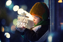 Cute Boy, Holding Lantern Outdoor