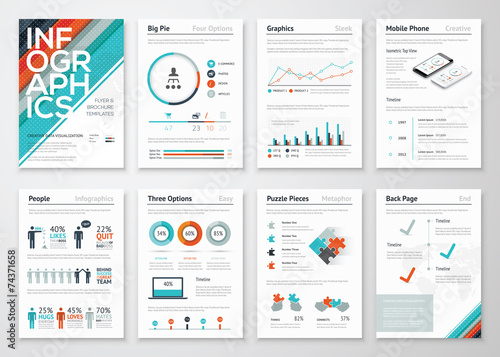 Photo  Infographic flyer and brochure elements for data visualization