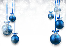 Background With Blue Christmas...