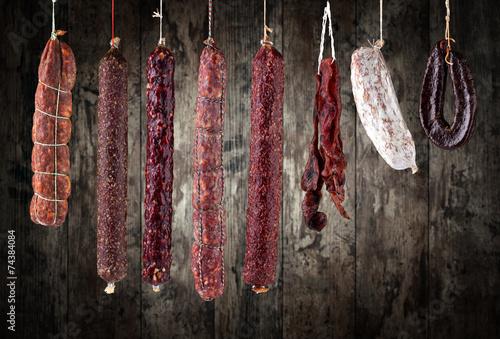 Fototapeta salami sausages obraz