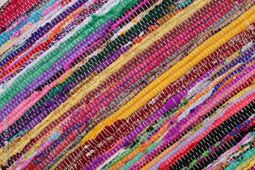 Fotografija Recycling, handmade colorful ethnic motley retro rug, carpet
