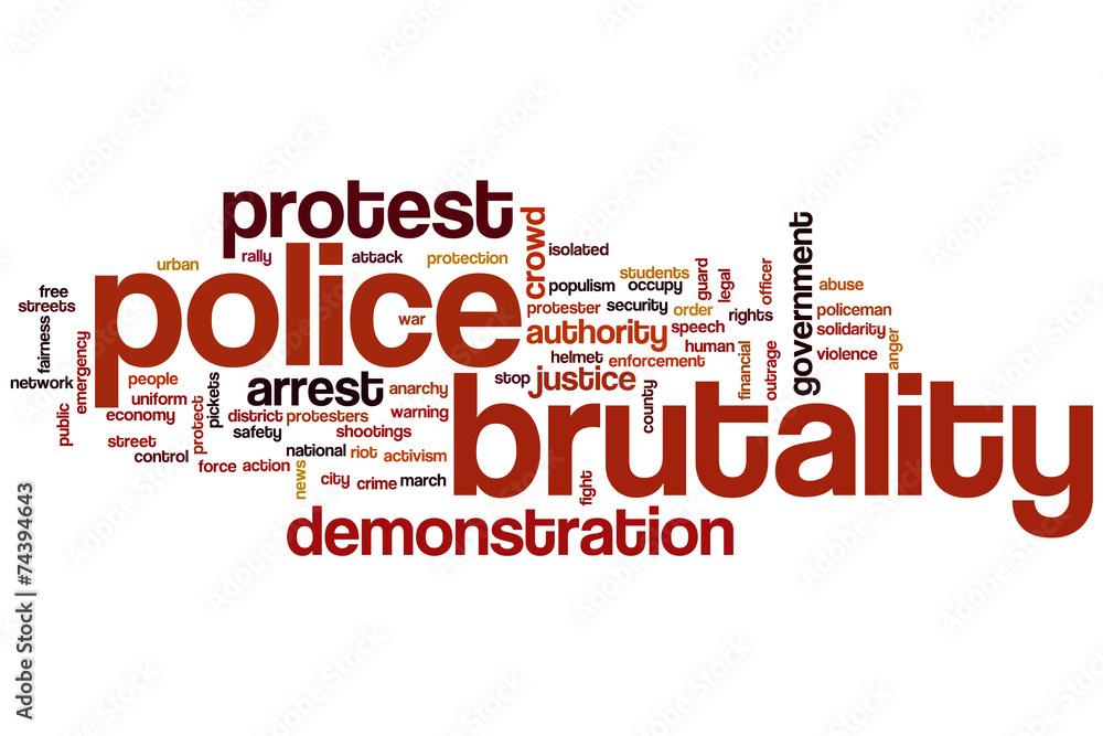 Fényképezés  Police brutality word cloud